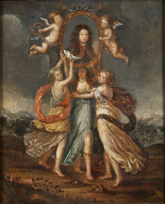Three Allegorical Figures Bearing the Portrait of Karl XI of Sweden. David Klöcker Ehrenstråhl
