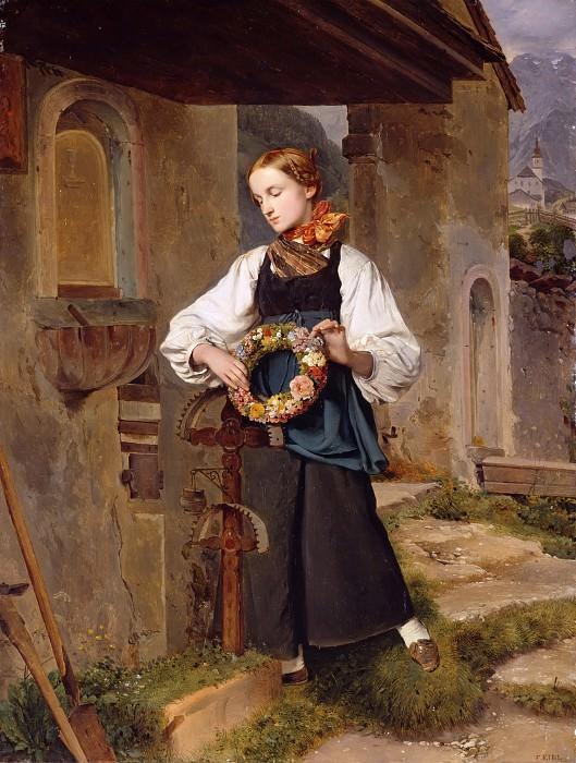 Девушка, украшающая венком могилу. Франц Эйбль