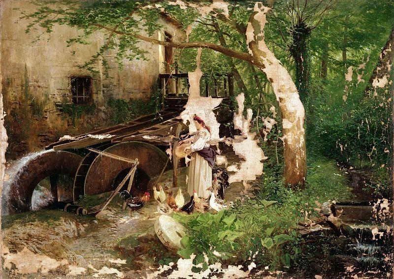 Крестьянка кормит цыплят на мельнице. Гаэтано Фазанотти