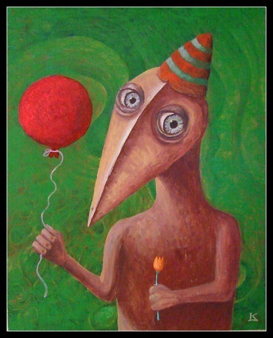 Woodman with red balloon. K. Frodo