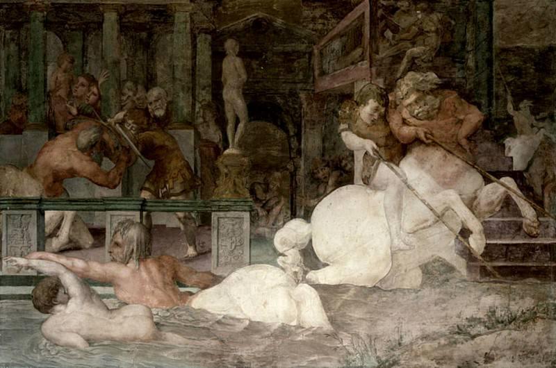 The Education of Achilles, detail of the decorative scheme in the Gallery of Francis I. Giovanni Battista Rosso Fiorentino