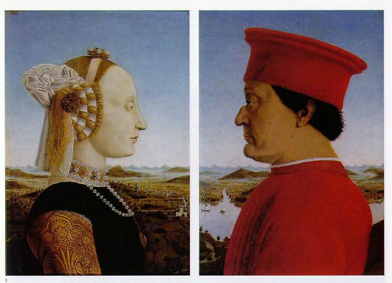 Piero della Francesca Left- Portrait of Battista Sforza, Duc. Piero della Francesca