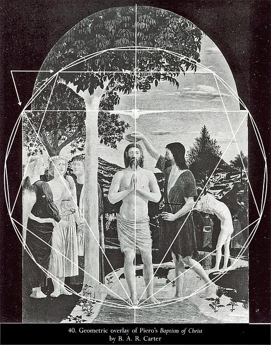 Гееометрическая схема к картине -Крещение Христа-. Пьеро делла Франческа