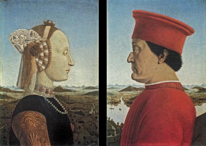 Баттиста Сфорца (слева), Федериго да Монтефельтро (справа). Пьеро делла Франческа