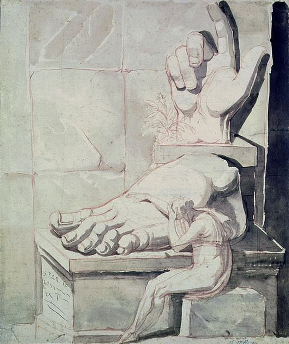 The Artist in Despair over the Magnitude of Antique Fragments (right hand and left foot of the Colossus of Constantine). Henry (Fussli Fuseli