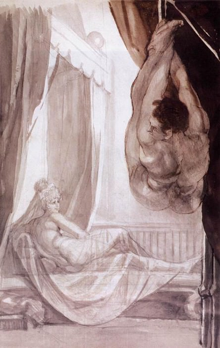 Brunhilde Observing Gunther Whom She Has Tied To The Ceiling. Henry (Fussli Fuseli