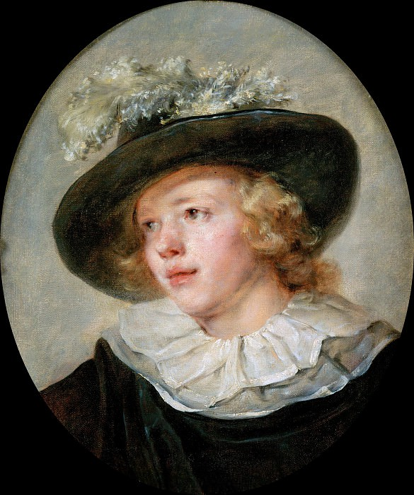 Portrait of young boy with a feathered hat. Jean Honore Fragonard