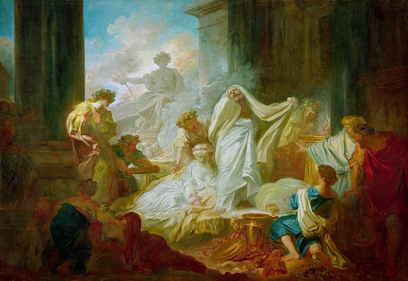 The grand priest Coresus sacrifices himself to save Callirhoe. Jean Honore Fragonard
