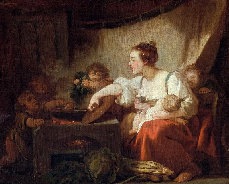 PREPARATION OF THE MEAL (HAPPY FAMILY). Jean Honore Fragonard