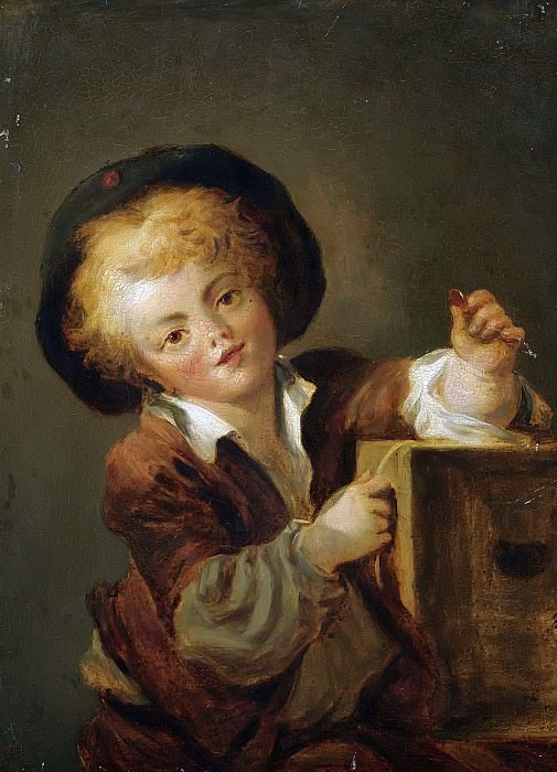 A LITTLE BOY WITH A CURIOSITY, SAID TO BE A PORTRAIT OF THE ARTISTS SON ALEXANDRE-EVARISTE (1780-1850). Jean Honore Fragonard
