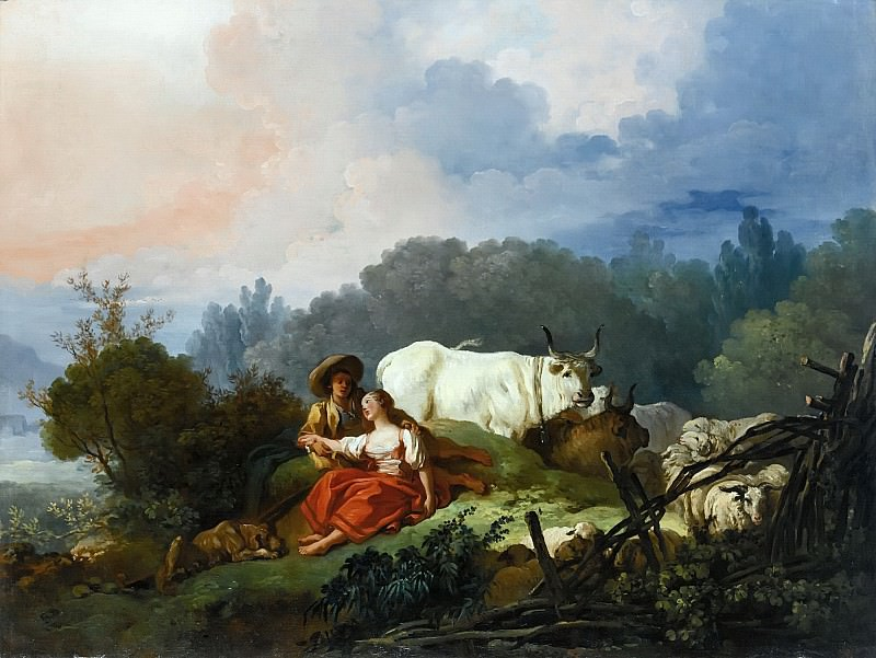 PASTORAL LANDSCAPE WITH A SHEPHERD AND SHEPHERDESS. Jean Honore Fragonard
