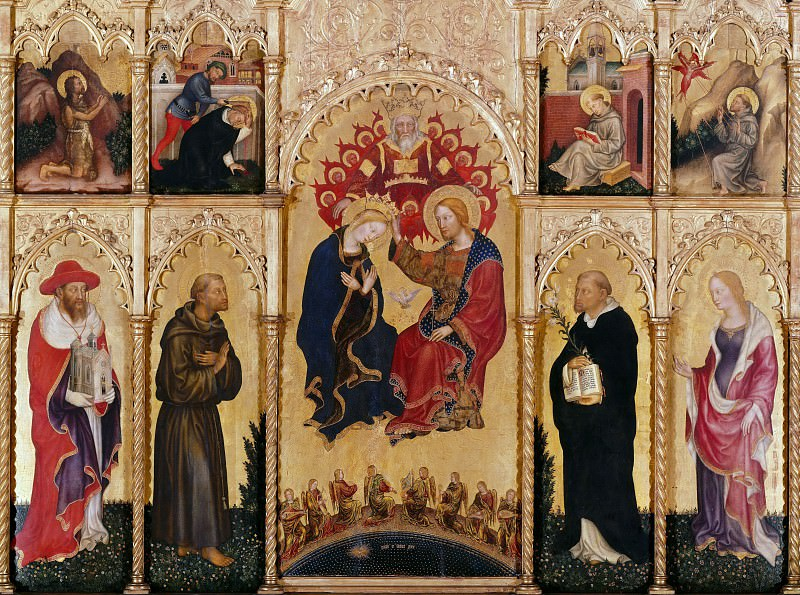 The altar polyptych Coronation of the Virgin (Valle Romita Polyptych). Gentile da Fabriano