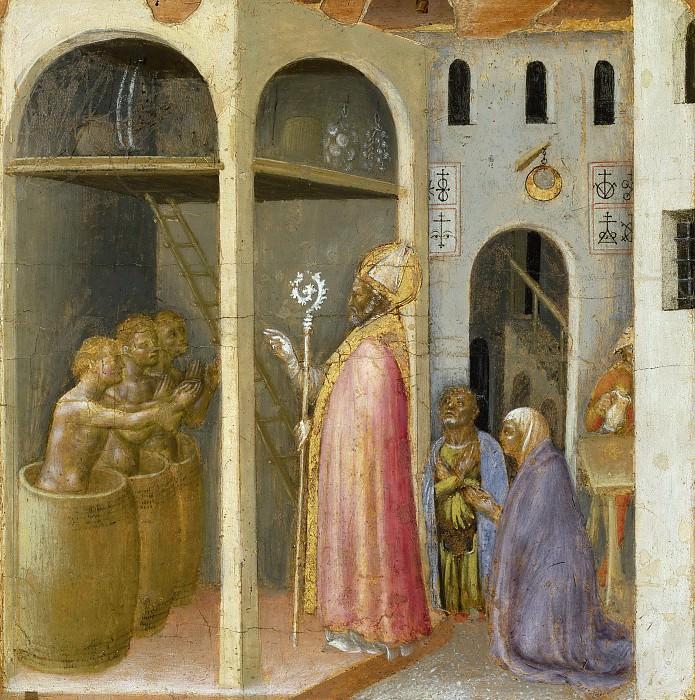 Quaratesi Altarpiece, predella - St. Nicholas Revives Three Youths put into Brine. Gentile da Fabriano