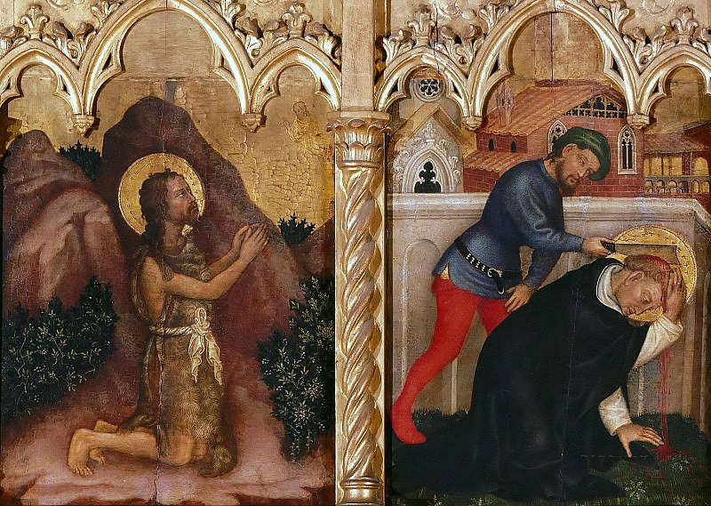 The altar polyptych Coronation of the Virgin (Valle Romita Polyptych) - St. John the Baptist in the Desert, the Martyrdom of St. Peter of Verona. Gentile da Fabriano