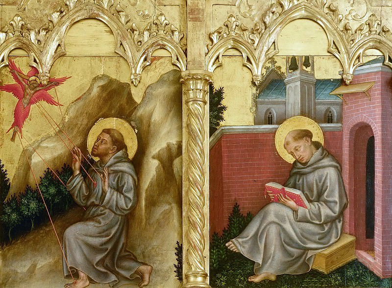 The altar polyptych Coronation of the Virgin (Valle Romita Polyptych) - Franciscan Saint and St. Francis Receiving the Stigmata. Gentile da Fabriano