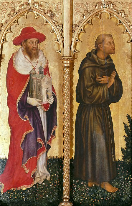 The altar polyptych Coronation of the Virgin (Valle Romita Polyptych) - St. Jerome and St. Francis of Assisi. Gentile da Fabriano