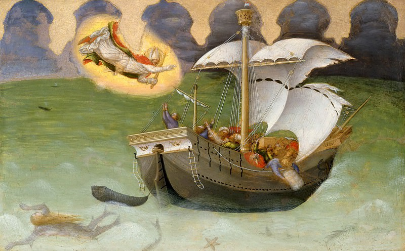 Quaratesi Altarpiece, predella - St. Nicholas Saves a Ship from Sinking. Gentile da Fabriano