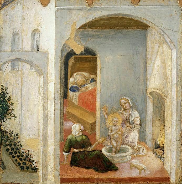 Quaratesi Altarpiece, predella - The Birth of Saint Nicholas. Gentile da Fabriano