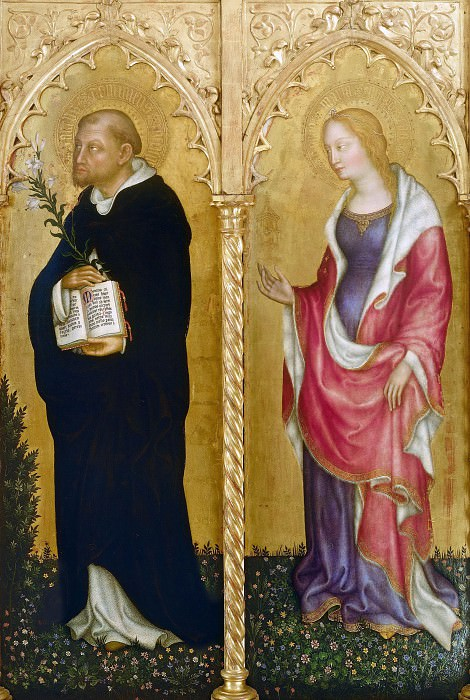 The altar polyptych Coronation of the Virgin (Valle Romita Polyptych) - St. Dominic and Mary Magdalene. Gentile da Fabriano