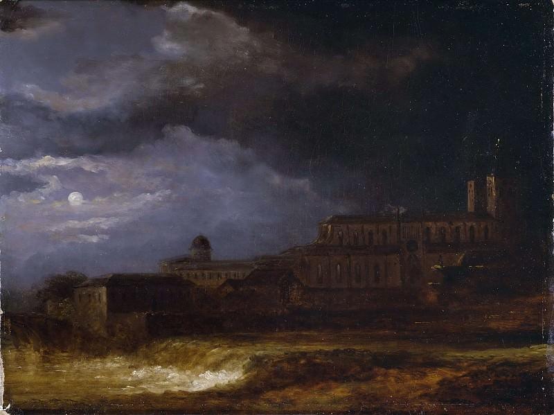 View of Uppsala. Landscape by Moonlight. Carl Johan Fahlcrantz