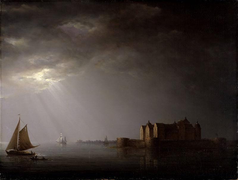 Kalmar Castle by Moonlight. Carl Johan Fahlcrantz