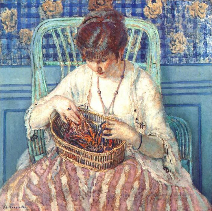 unraveling silk c1915. Frederick Carl Frieseke