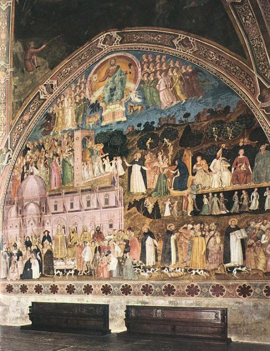 Frescoes on the right wall, 1365-68, Cappe. Andrea di Bonaiuto da Firenze