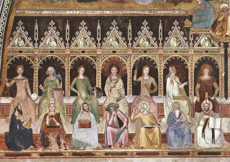 Triumph of St Thomas and Allegory of the Sciences detail. Andrea di Bonaiuto da Firenze