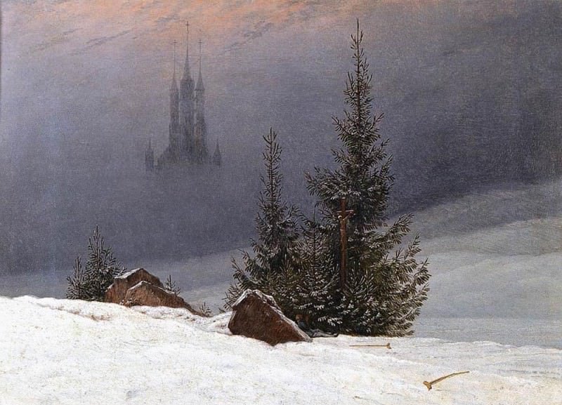 Winter Landscape With Church. Caspar David Friedrich