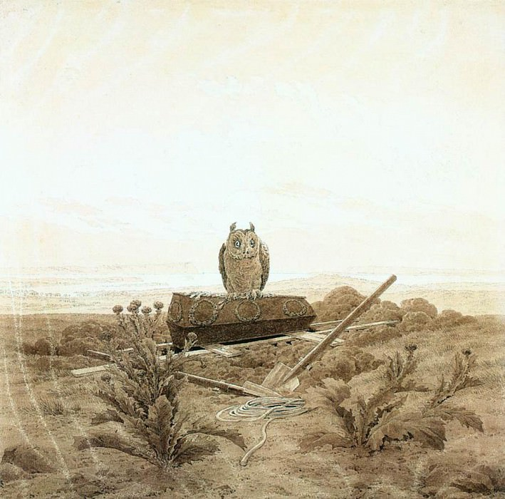 Landscape With Grave Coffin And Owl. Caspar David Friedrich