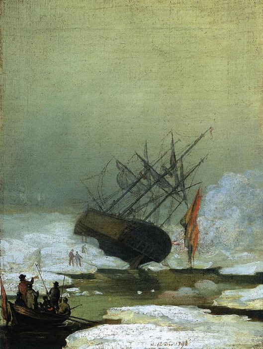 Wreck By The Sea. Caspar David Friedrich
