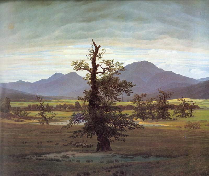 Landscape with Solitary Tree. Caspar David Friedrich