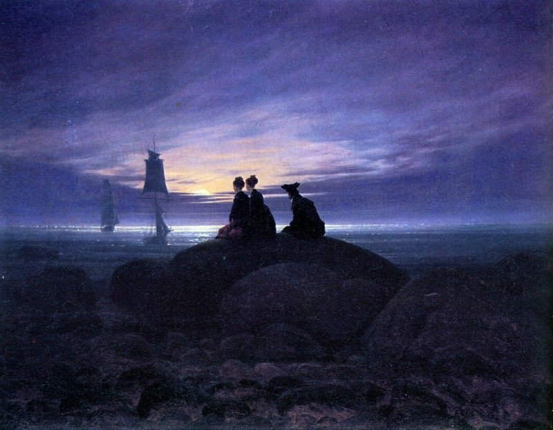 Moonrise over the sea Sun. Caspar David Friedrich