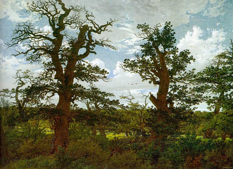 Landscape with Oak Trees and a Hunter. Caspar David Friedrich