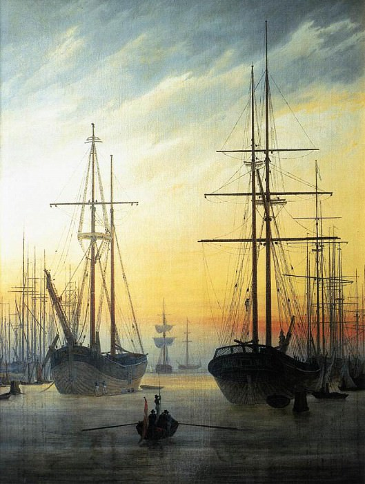 View Of A Harbour. Caspar David Friedrich