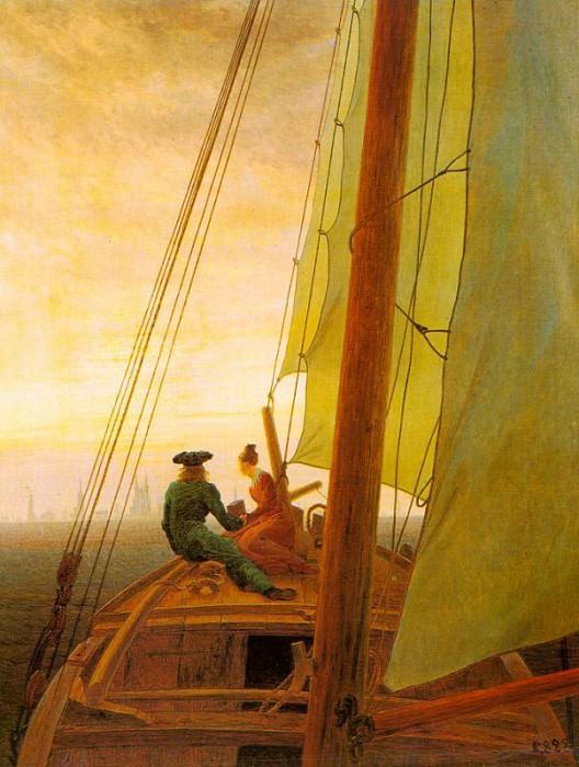 On Board a Sailing Ship. Caspar David Friedrich