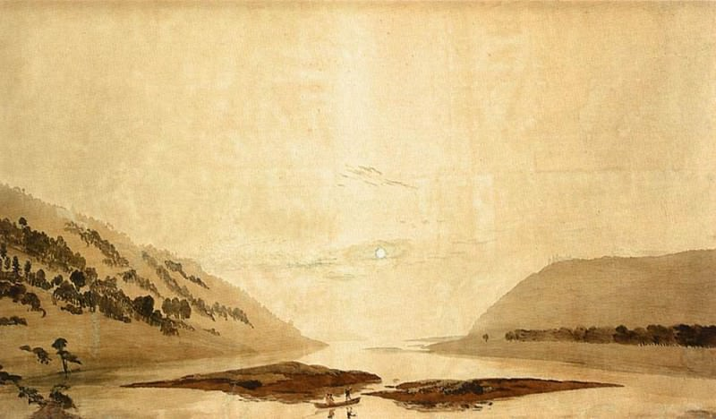 Mountainous River Landscape Day Version. Caspar David Friedrich