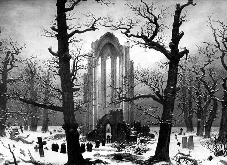 Monastery Graveyard in the Snow. Caspar David Friedrich