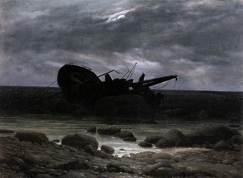 Wreck In The Moonlight. Caspar David Friedrich