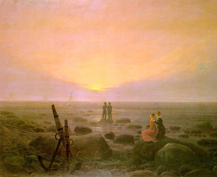 Moon Rising over the Sea. Caspar David Friedrich