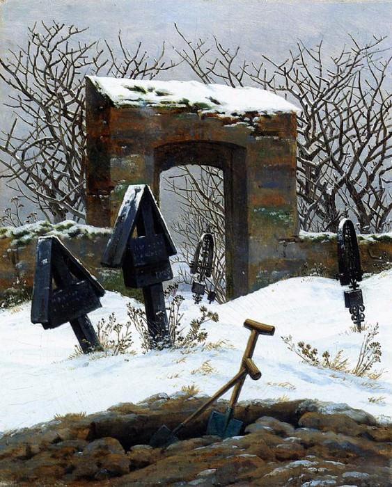 Graveyard Under Snow. Caspar David Friedrich