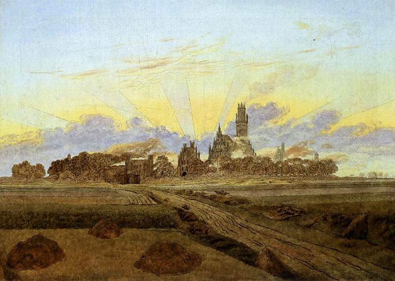 Neubrandenburg In Flames. Caspar David Friedrich