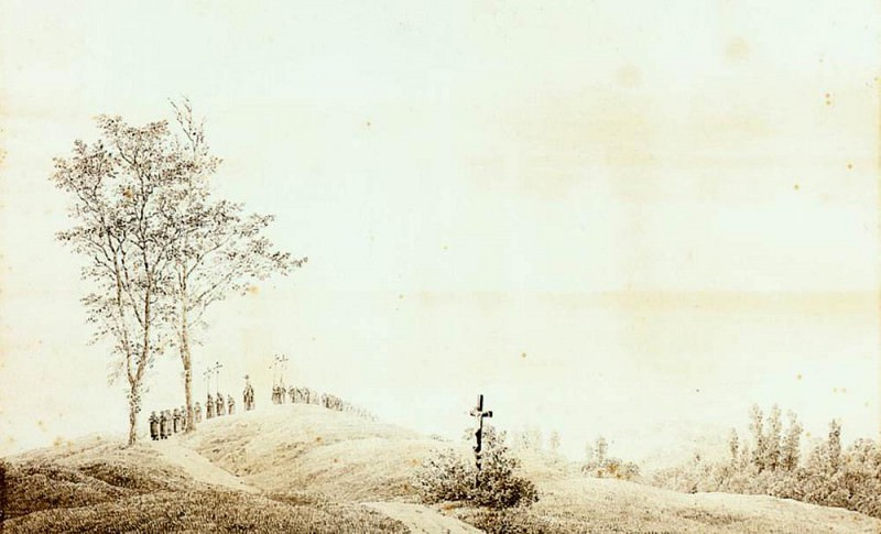 Pilgrimage At Sunset. Caspar David Friedrich
