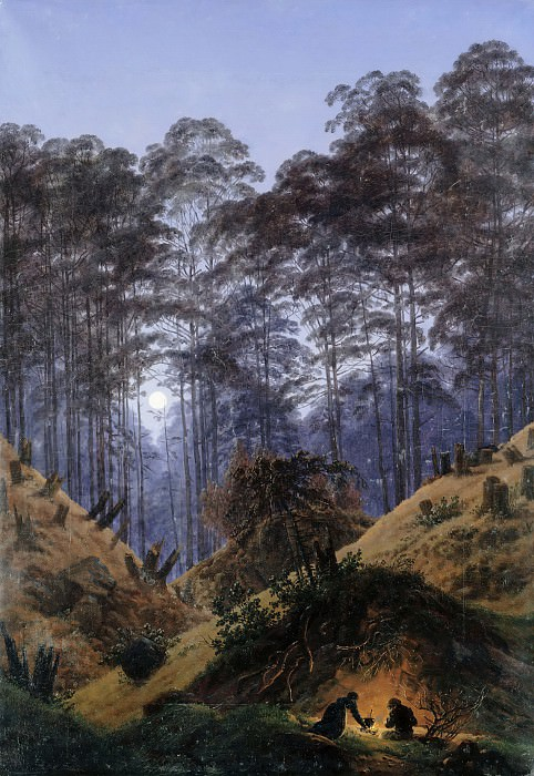 Forest in Moonlight, in the foreground are people around a bright fire. Caspar David Friedrich