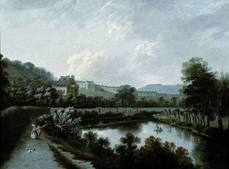 The Royal Crescent, Bath, from the Avon. Joseph Farington