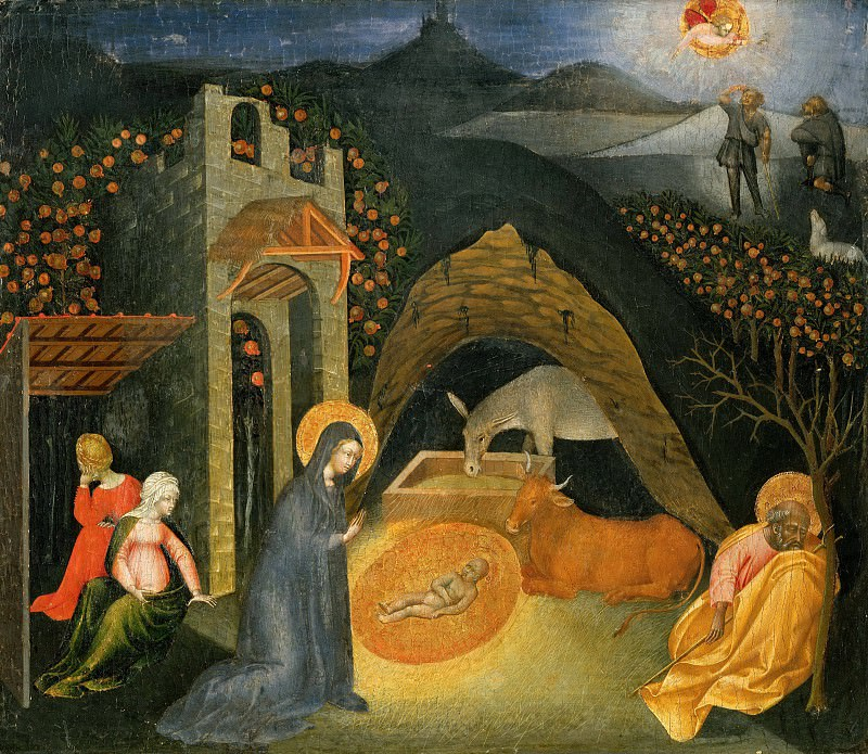 Nativity and the Annunciation to the Shepherds. Giovanni di Paolo