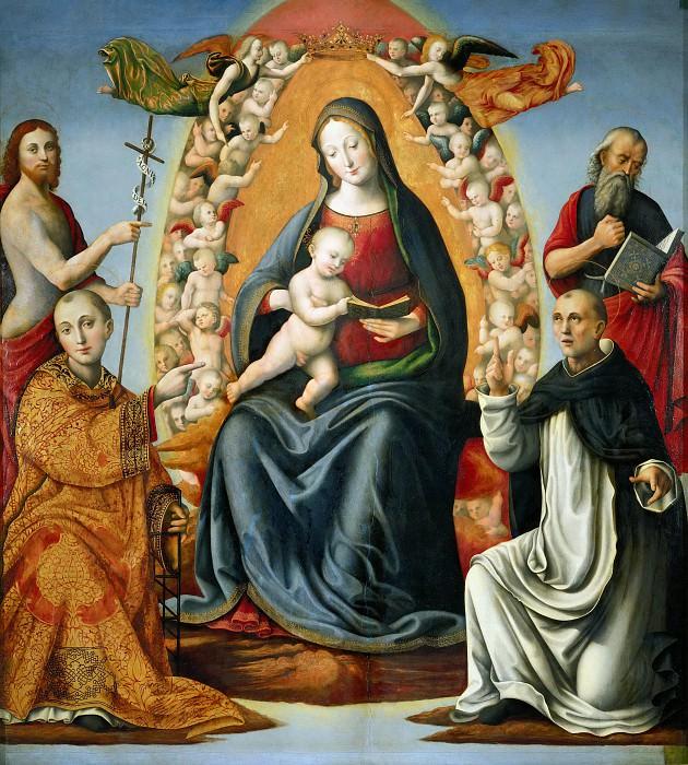 Мадонна с Младенцем на троне и святые Иероним, Иоанн Креститель, Лаврентий и Доминик. Джироламо Дженга