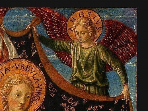 Saint Ursula with Angels and Donor, 1455, 47x28.6. Benozzo Gozzoli