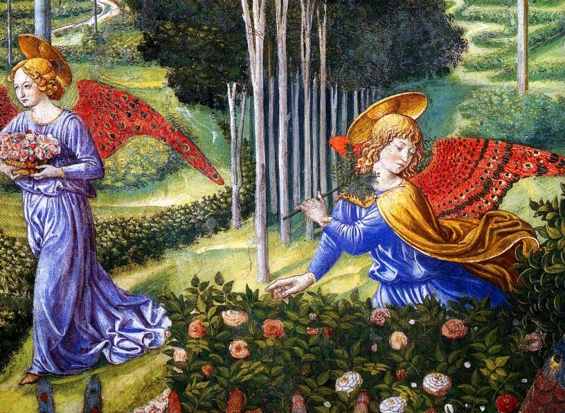 Ange ramassant des fleurs dans un paysage celeste. Benozzo Gozzoli