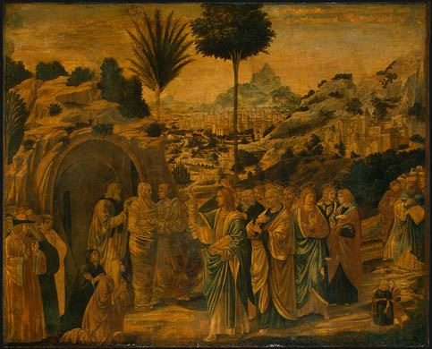 Gozzoli The Raising of Lazarus, probably 1497, 65.5x80.5 cm,. Benozzo Gozzoli